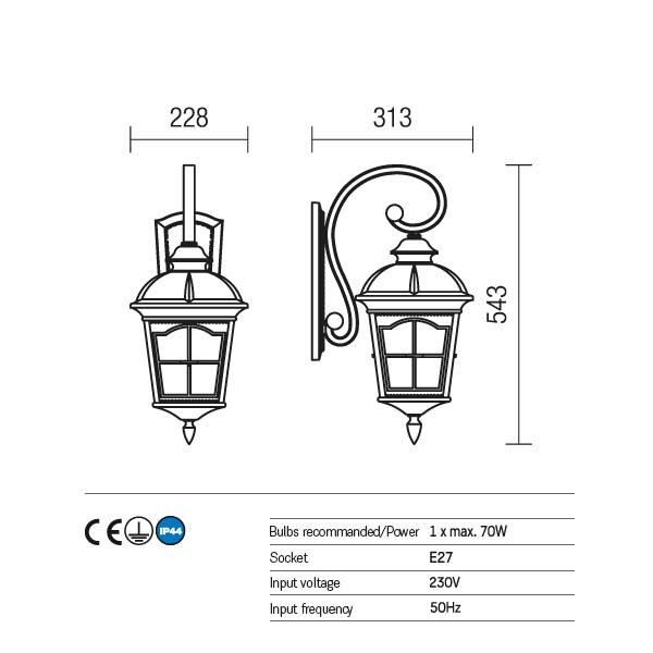 Redo York 9647 kültéri klasszikus fali lámpa / Redo / lámpák