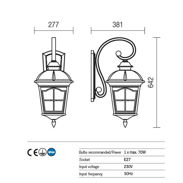 Redo York 9648 kültéri klasszikus fali lámpa / Redo / lámpák