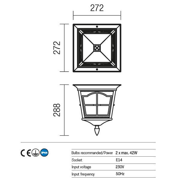 Redo York 9650 kültéri klasszikus mennyezeti lámpa / Redo / lámpák
