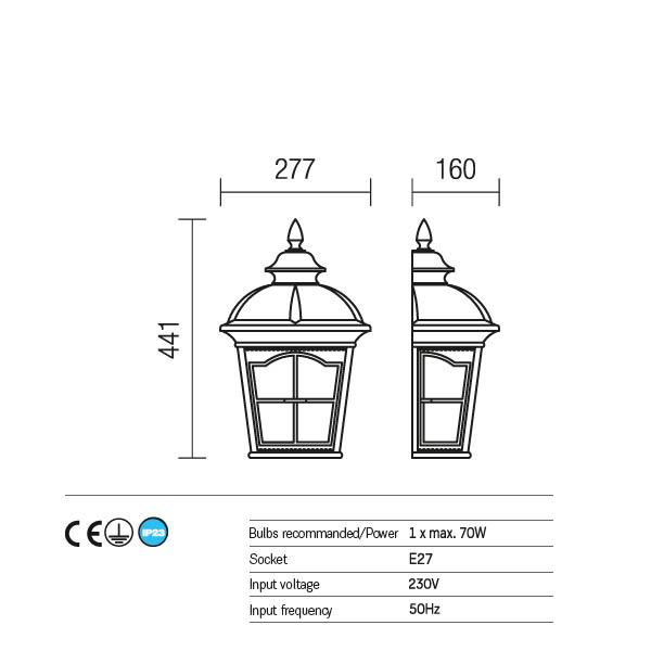 Redo York 9651 kültéri klasszikus fali lámpa / Redo / lámpák