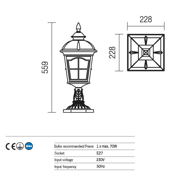 Redo York 9652 kültéri klasszikus állólámpa / Redo / lámpák