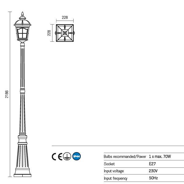 Redo York 9654 kültéri klasszikus állólámpa / Redo / lámpák