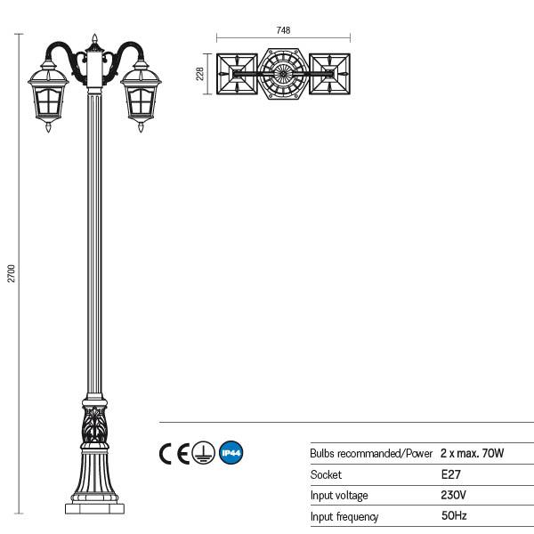 Redo York 9655 kültéri klasszikus állólámpa / Redo / lámpák