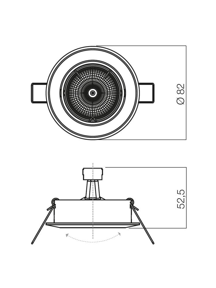Redo ELC 229B PC/CH 70007 modern beépíthető spot lámpa / Redo / lámpák