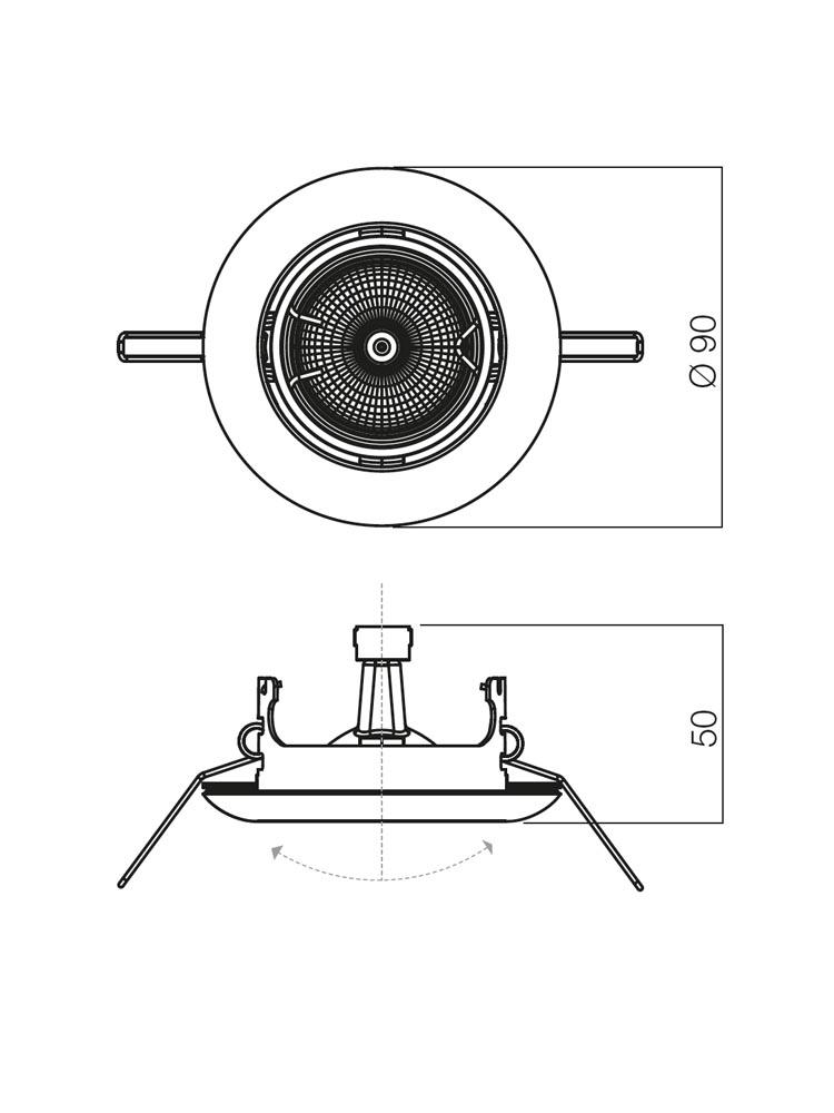 Redo ELC 3072 PB 70155 modern beépíthető spot lámpa / Redo / lámpák
