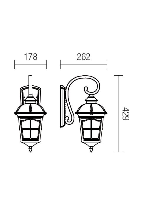 Redo York 9664 klasszikus kültéri fali lámpa / Redo / lámpák