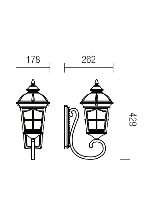 Redo York 9665 klasszikus kültéri fali lámpa / Redo / lámpák