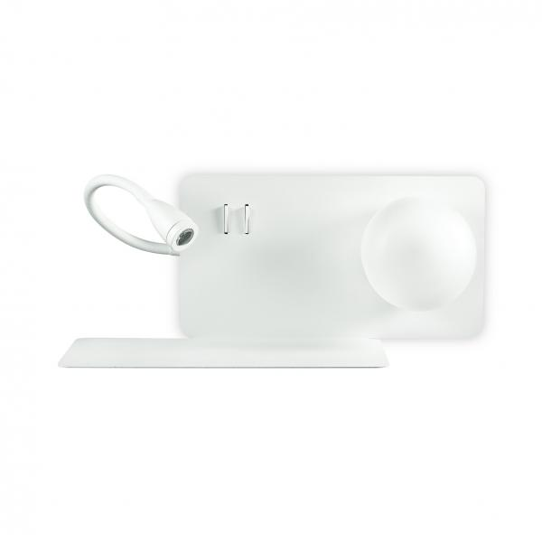 Ideal Lux olasó falikar+USB aljzat BOOK-1 AP2 BIANCO 174792