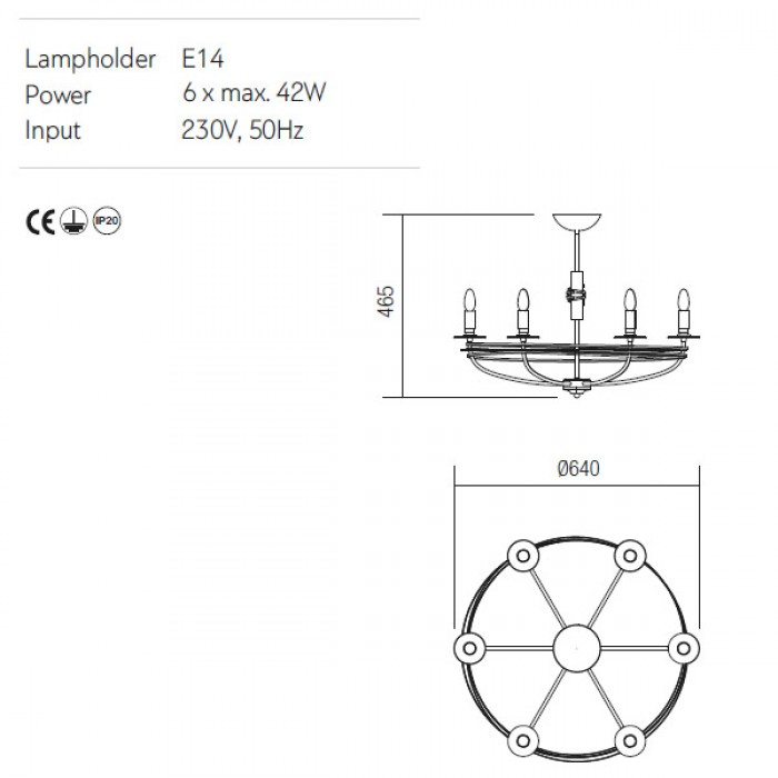Incanti 6 izzós mennyezeti lámpa Circus ICU CL6 02