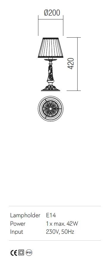Incanti antik asztali lámpa Cloe ICL T1 14 01