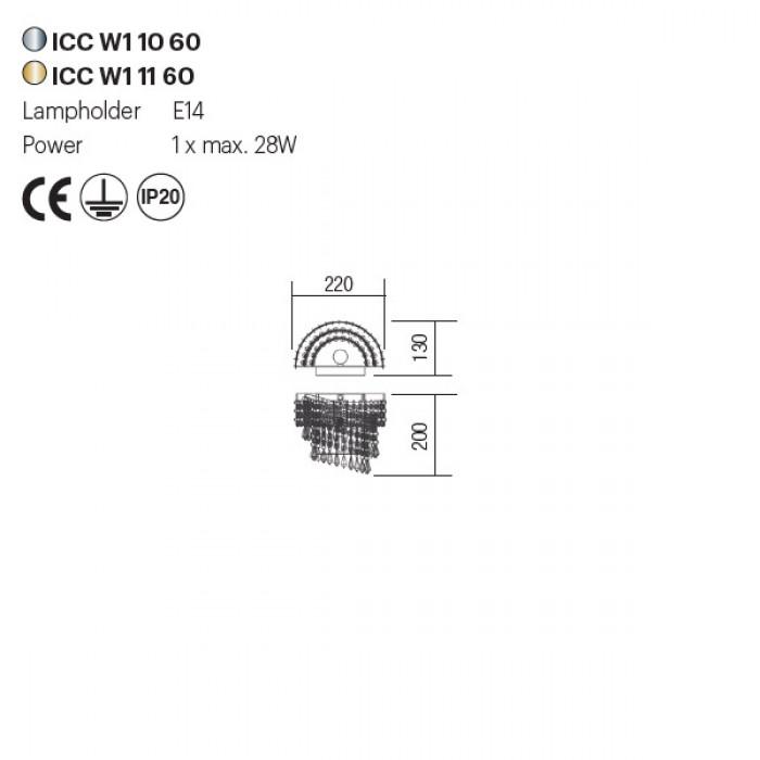 Incanti COCO ICC W1 11 60 kristály falikar