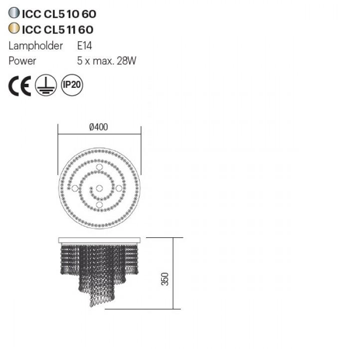 Incanti COCO ICC CL5 11 60 kristály mennyezeti lámpa