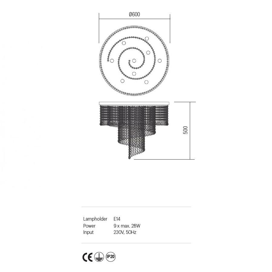 Incanti COCO ICC CL9 11 60 kristály 9 izzós mennyezeti lámpa