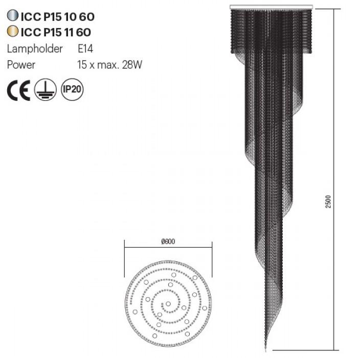 Incanti COCO ICC P15 11 60 kristály 15 izzós mennyezeti lámpa