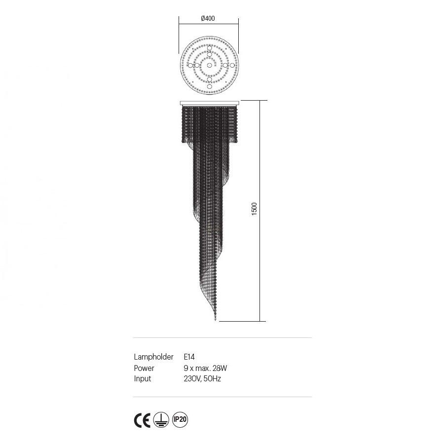 Incanti COCO ICC P9 10 60 kristály 9 izzós mennyezeti lámpa