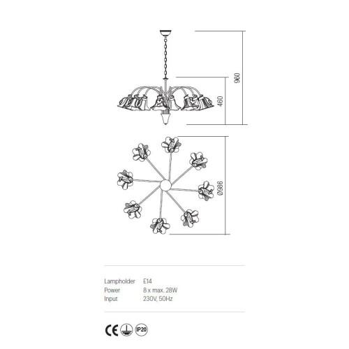 Incanti DALILA IDL C8 05 rusztikus 8 izzós csillár