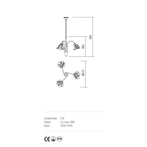 Incanti DALILA IDL C3 05 rusztikus 3 izzós csillár