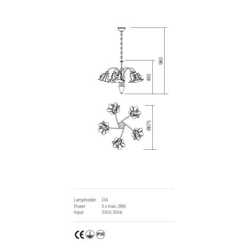 Incanti DALILA IDL C5 05 rusztiku 5 izzós csillár