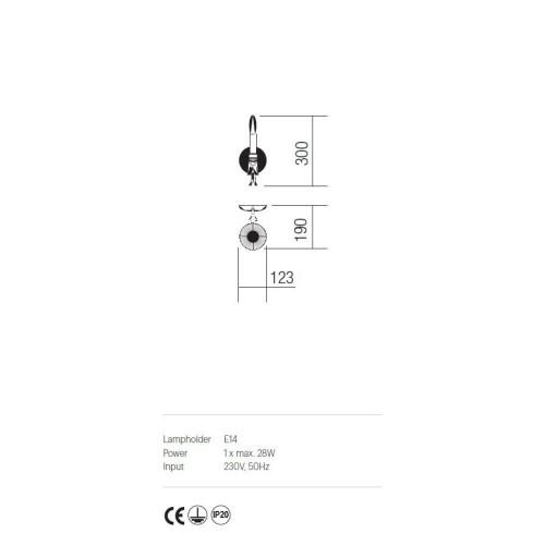 Incanti 1 izzós rusztikus falikar ETOILE IET W1 02