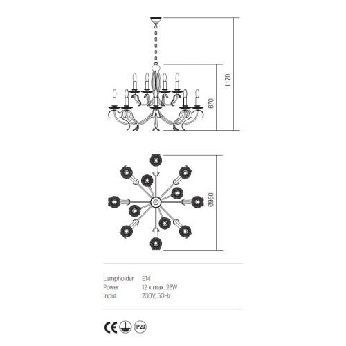 Incanti 12 izzós rusztikus csillár ETOILE IET C12 02