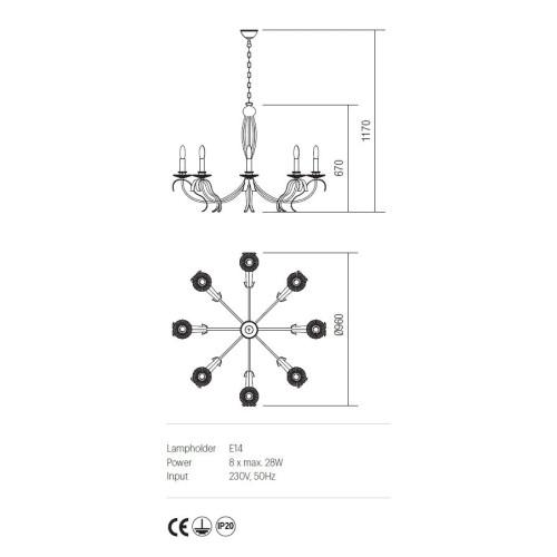 Incanti 8 izzós rusztikus csillár ETOILE IET C8 02