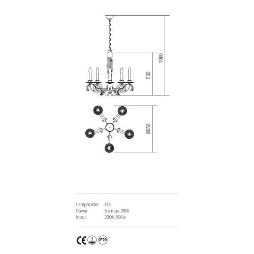 Incanti 5 izzós rusztikus csillár ETOILE IET C5 02