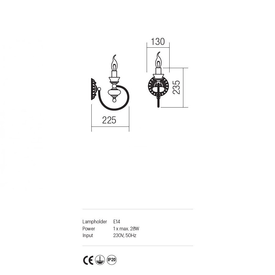 Incanti 1 izzós klasszikus falikar Fabula IFB W1 14