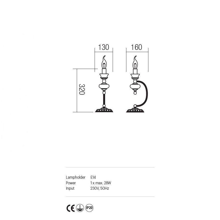 Incanti klasszikus asztali lámpa Fabula IFB T1 14