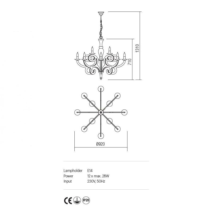 Incanti 12 izzós rusztikus csillár MEDEA IMD C12 05