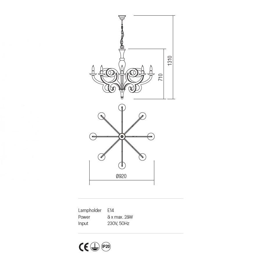 Incanti 8 izzós rusztikus csillár MEDEA IMD C8 05