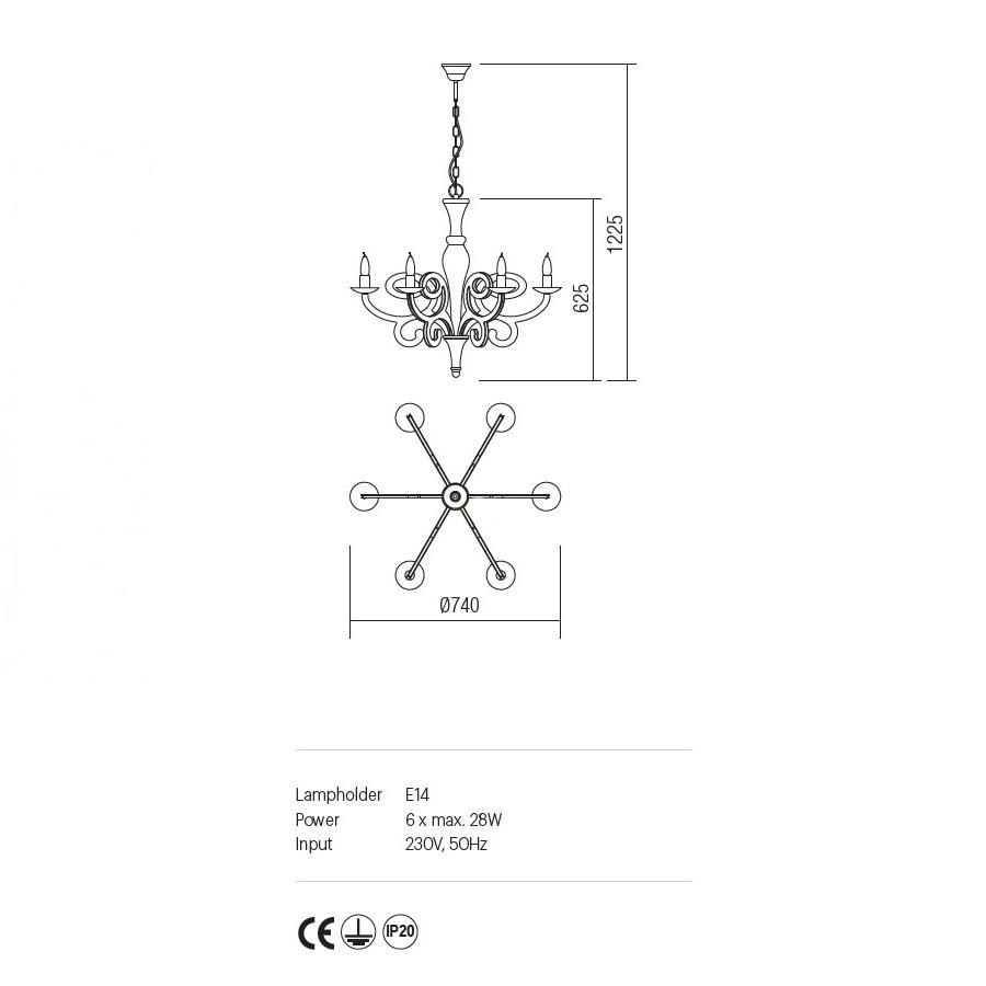 Incanti 6 izzós rusztikus csillár MEDEA IMD C6 05