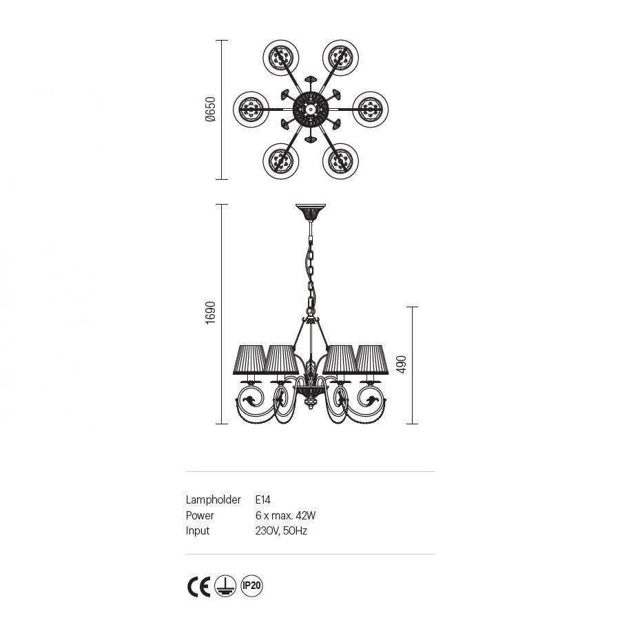 Incanti 6 izzós rusztikus csillár SINFONIA ISF C6 06 02