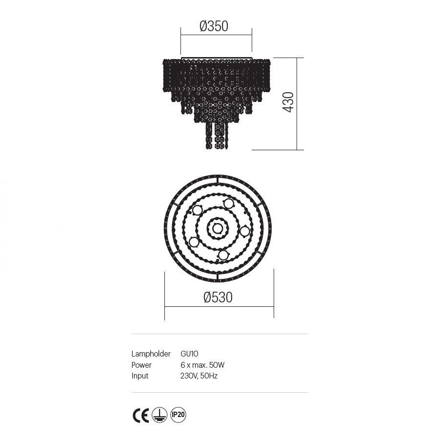 Incanti 6 izzós kristály mennyezeti lámpa TREVI ITV CLR6 10 60
