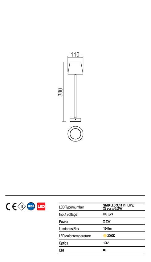 Redo OUT kültéri asztali lámpa 9176 GIORGIO