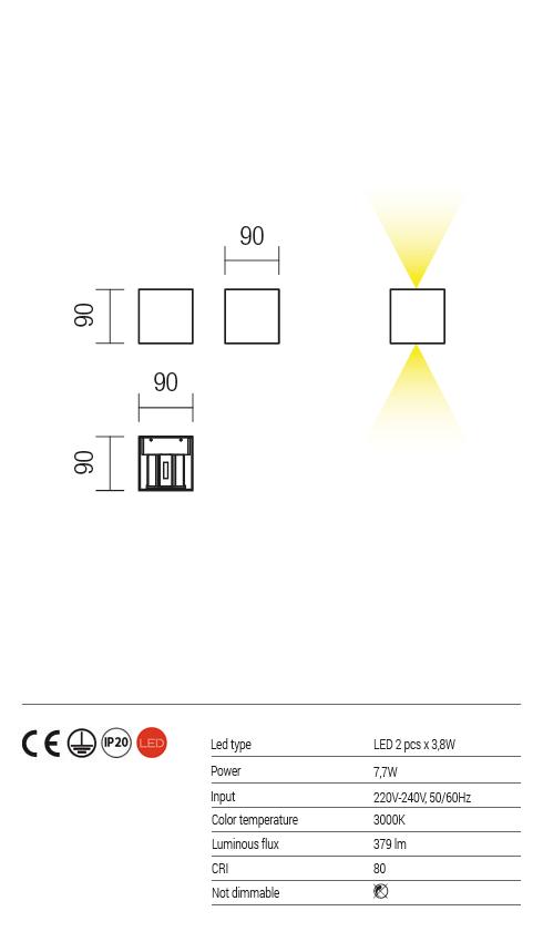 Redo W LED fali lámpa AMPLITUDE 01-1229