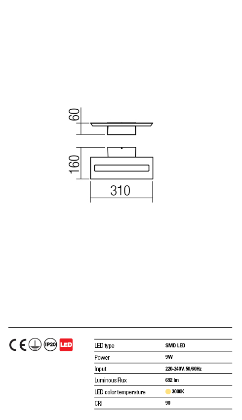 Redo LED falikar 01-1338 EXOD