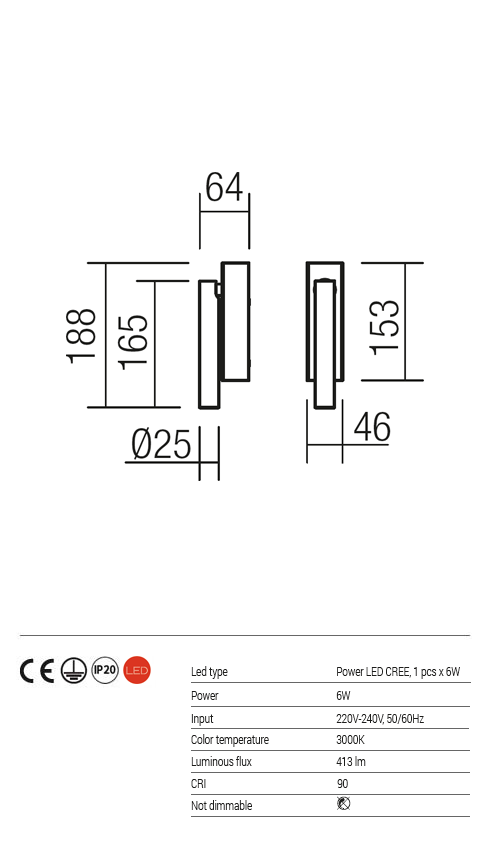 Redo LED fali lámpa KANJI 01-1218