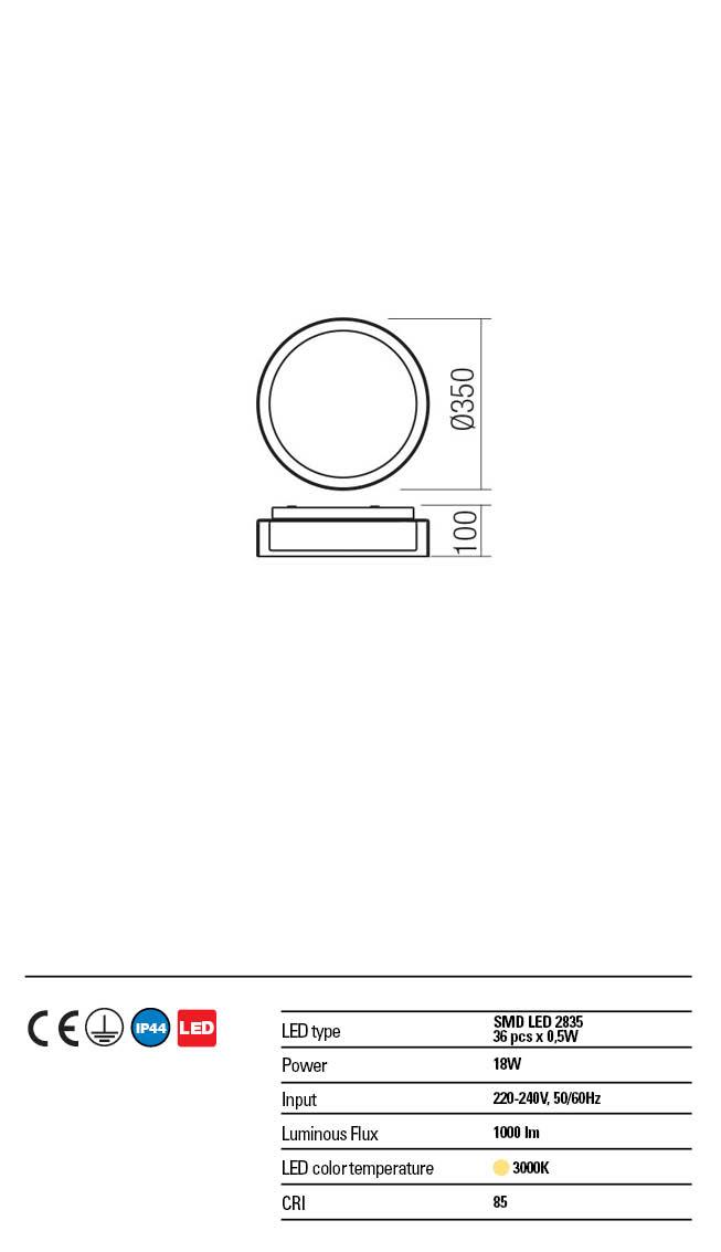Redo LED víz védett mennyezeti lámpa 01-1454 NAJI