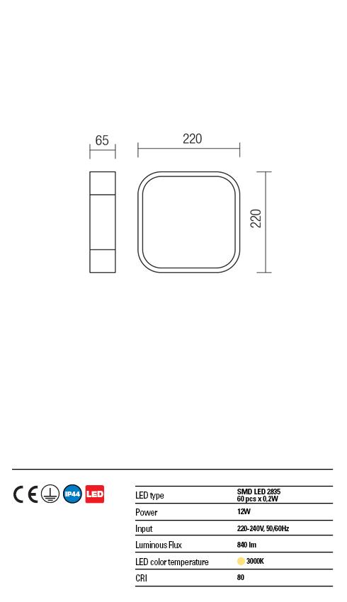 Redo LED víz védett mennyezeti lámpa 01-1353 SCREEN IP