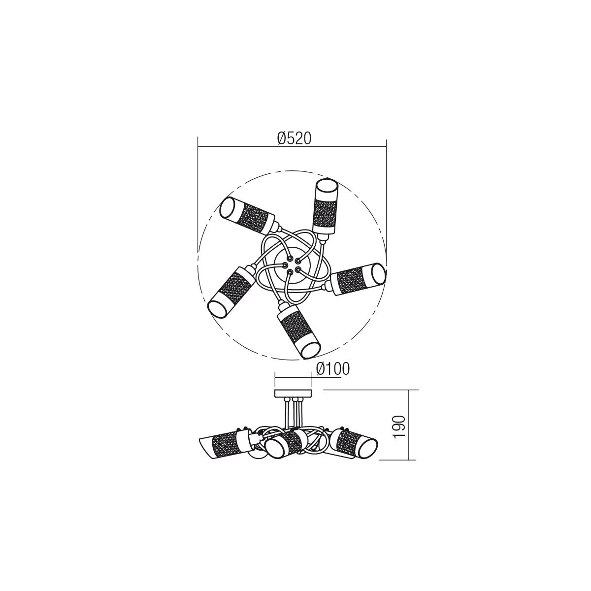 Redo SML 5 izzós mennyezeti lámpa 01-1250 PULSAR