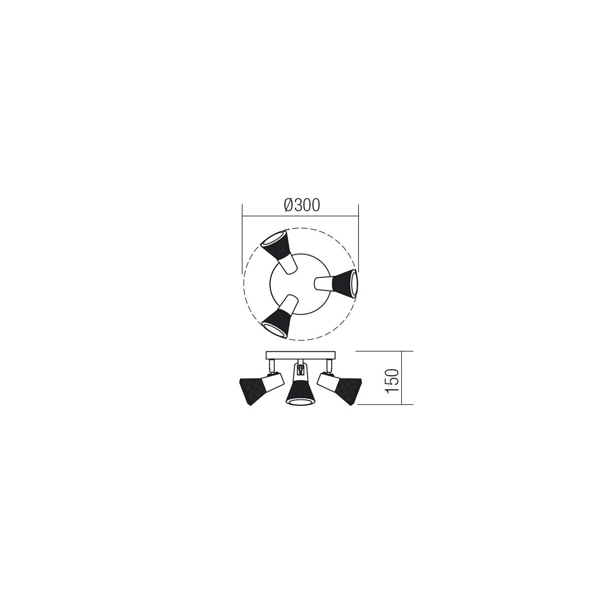 Redo SML 3 izzós spot mennyezeti lámpa 04-458 RONIN