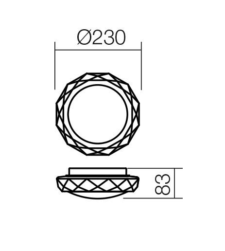 Redo SML 1 izzós fürdőszobai mennyezeti lámpa 01-1239 RIBA