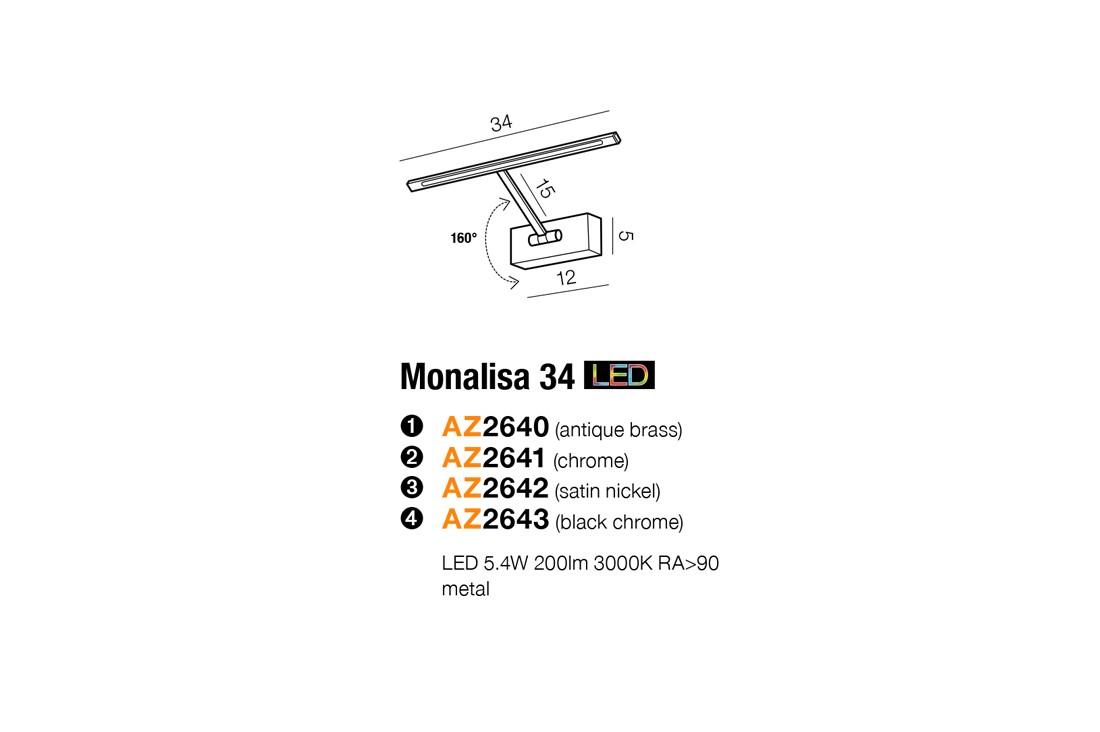 Azzardo AZ-2642 Monalisa LED képmegvilágító