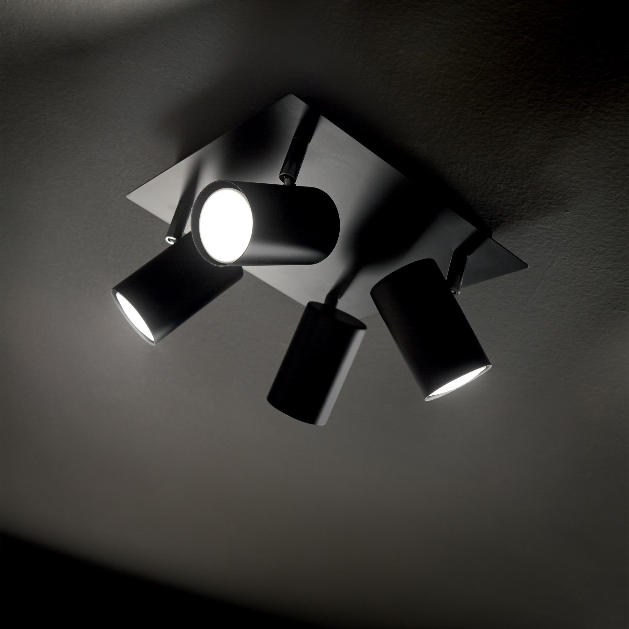 Ideal Lux 156781 SPOT PL4 NERO 4 izzós spot mennyezeti lámpa