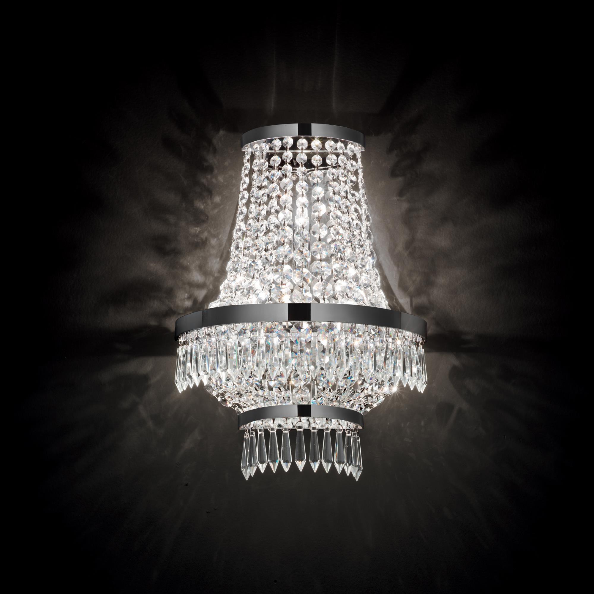 Ideal Lux 137698 CAESAR AP3 CROMO kristály falilámpa