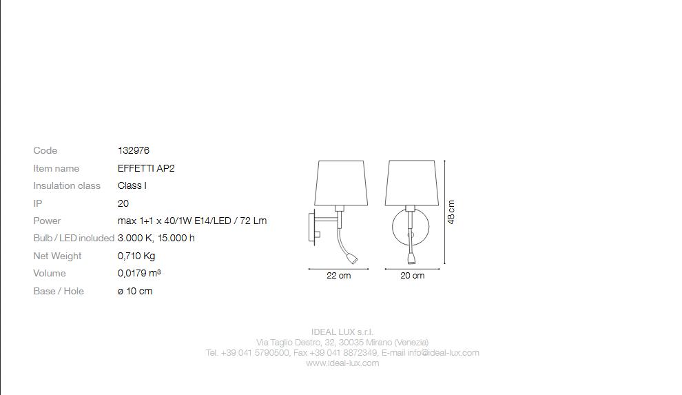 Ideal Lux 132976 EFFETTI AP2 2 izzós falikar