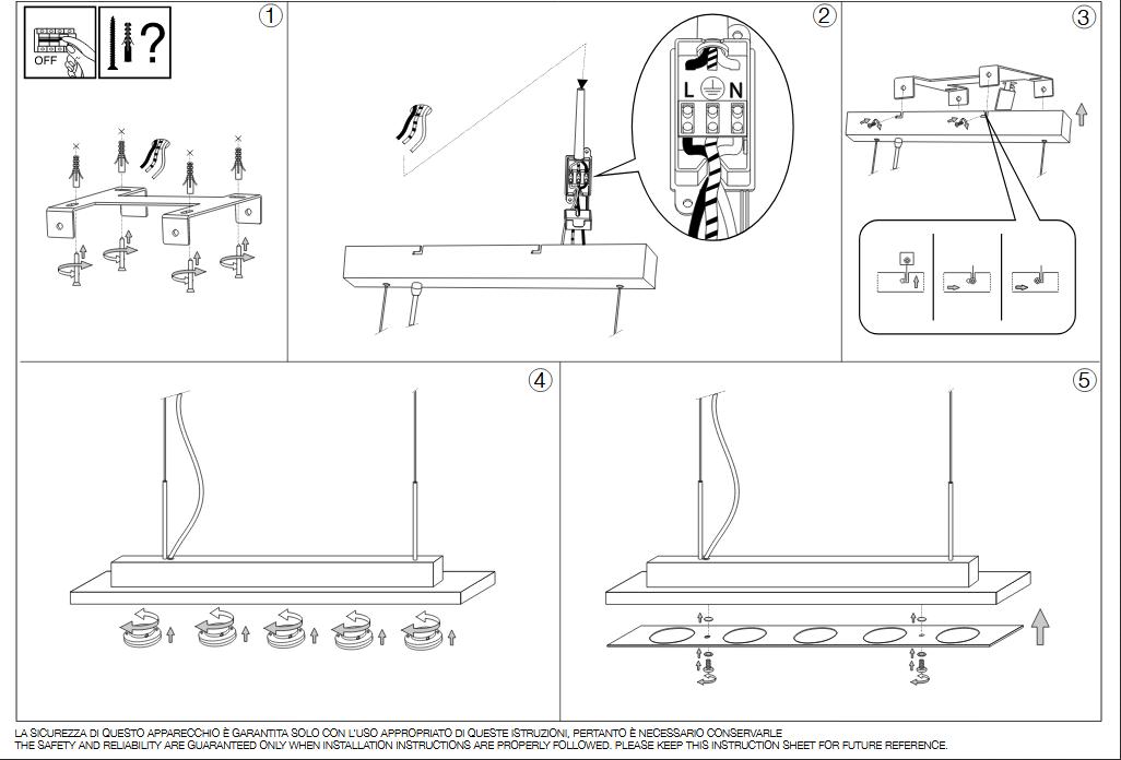 Ideal Lux 160023 CONCORDE SP5 lámpa függeszték