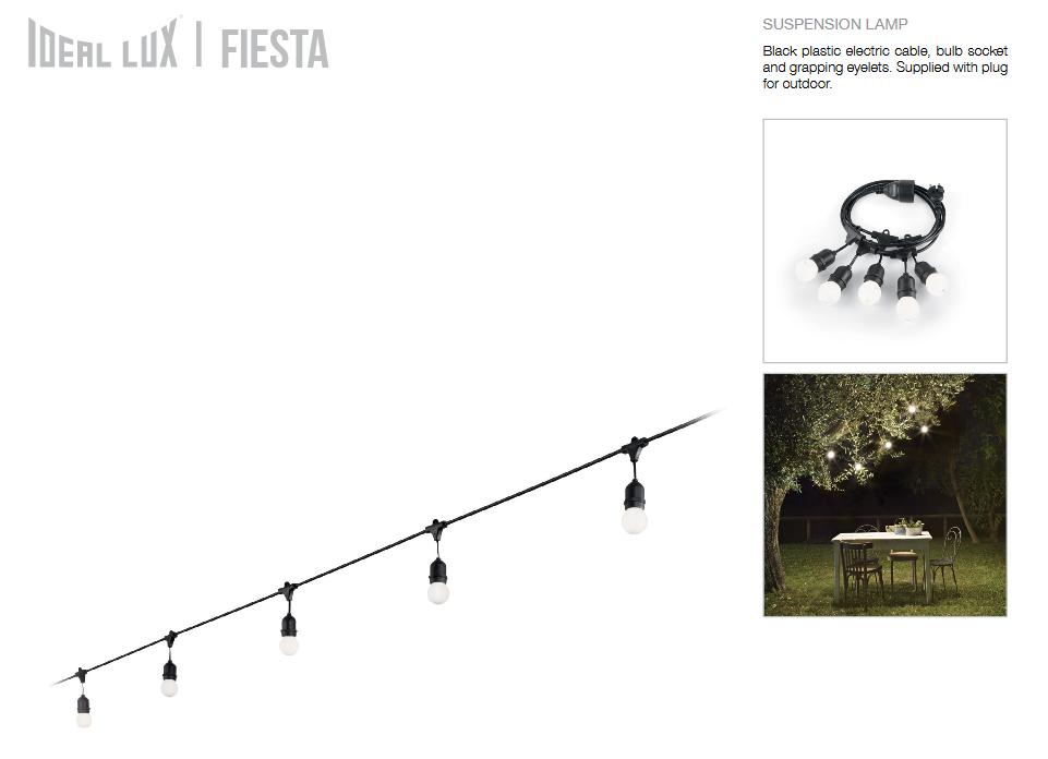 Ideal Lux 159836  FIESTA SP5 Nero kültéri függeszték füzér