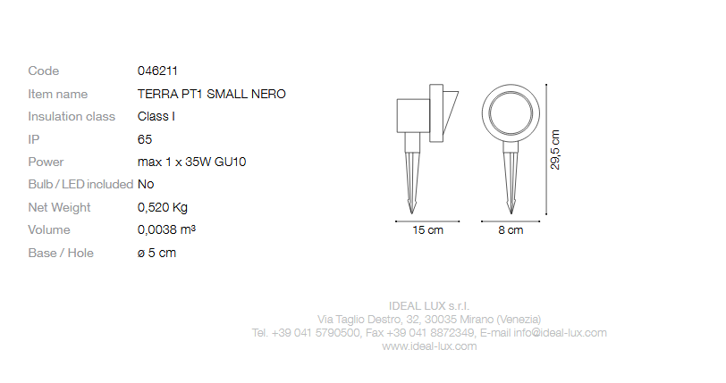 Ideal Lux 046211 TERRA PT1 SMALL NERO kültéri talajba szúrható lámpa