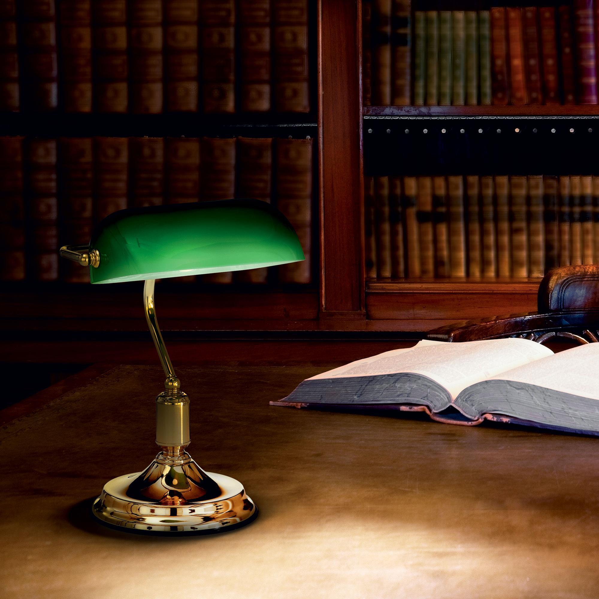Ideal Lux 013657 Lawyer TL1 Ottone asztali banklámpa